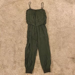 ANGL - OLIVE GREEN - long pant romper - LARGE